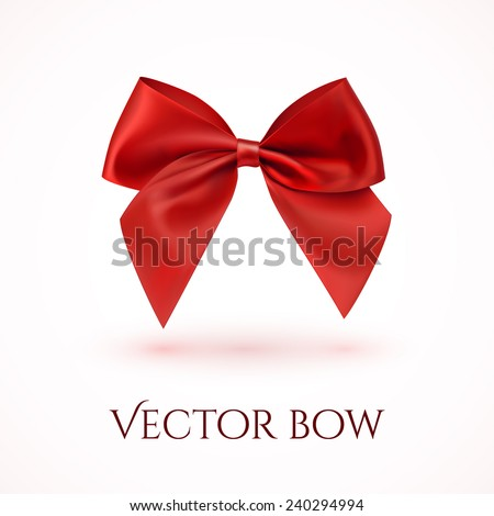 Realistic red bow. Ribbon. Vector illustration - stock vector