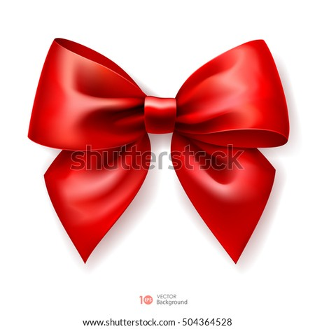 Realistic red bow. Vector eps 10.