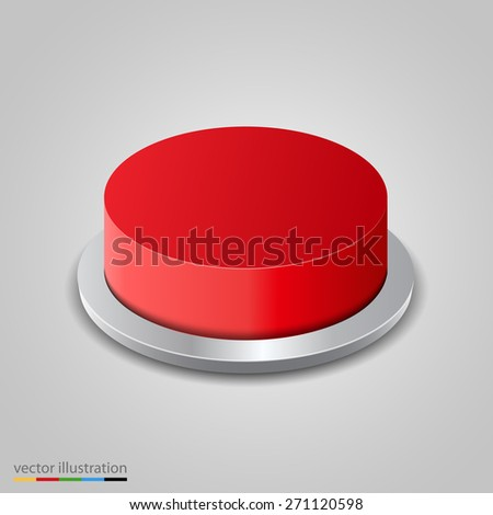 Realistic red button on white background. Vector illustration - stock vector