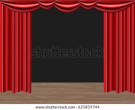 Realistic Red Curtains. Scene of the theater. Podium. Vector illustration. Empty scene