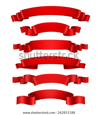 Realistic red 3d waving decorative ribbon banners set isolated vector illustration - stock vector
