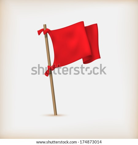 Realistic Red Flag Icon. Vector Illustration - stock vector