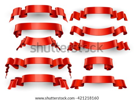 Realistic Red Glossy vector ribbons. Large set. vector - stock vector