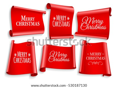 Realistic Red paper banners set. Merry Christmas. Vector illustration