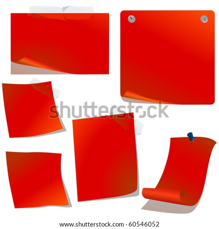 Realistic red pinned papers vector set - stock vector
