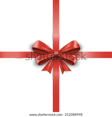 Realistic red ribbon bow with tails isolated on white background. Vector illustration EPS10 - stock vector