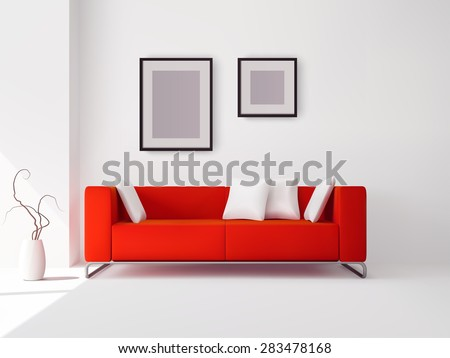 Realistic red sofa with white pillows and frames and pot with plant vector illustration - stock vector