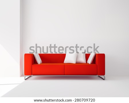 Realistic red square sofa on the metal legs with white pillows interior vector illustration - stock vector