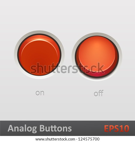 Realistic red toggle switch on off positions. Vector illustration - stock vector