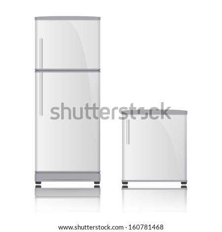 Realistic refrigerator vector on isolated white background - stock vector
