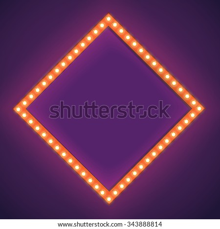 Realistic Retro light Bulb in the Square. Glowing Cinema Signboard with Light Bulb with a Blank Space for Text. 3D Volumetric Frame for your Template, Advertising, Promotions, text. Vector  - stock vector