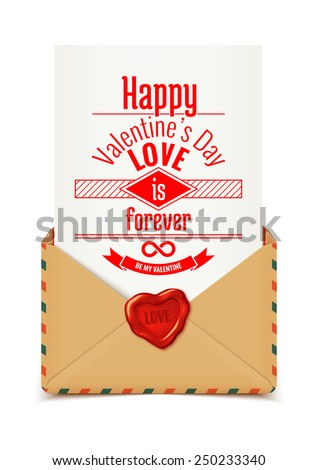Realistic retro vector envelope with wax seal in heart shape with love message, Valentine illustration - stock vector