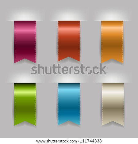 Realistic Ribbon Set, Isolated On Grey Background, Vector Illustration - stock vector