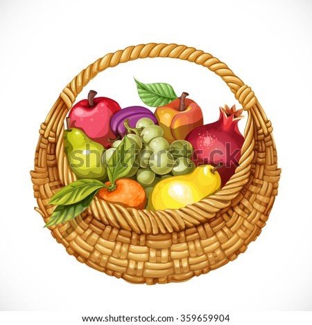 Realistic round wicker basket filled with fruits pomegranate, grape, peach, apple, plum, pear, tangerine isolated on white background