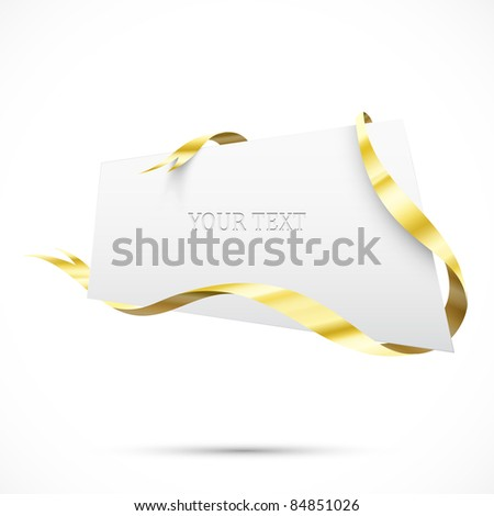 Realistic sale tag. Gold ribbon - stock vector
