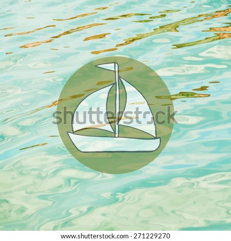 Realistic sea waves background with circular caption. Template for web sites and other projects with travel and sea imagery. - stock vector