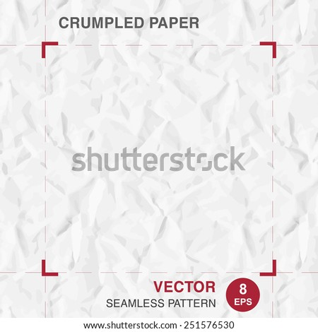 Realistic seamless pattern of crumpled (creased) paper. Vector texture for background. - stock vector