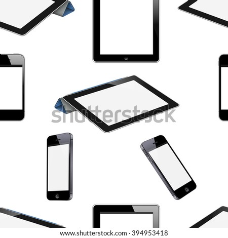 Realistic seamless pattern with gadgets. Vector background - stock vector