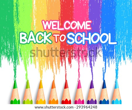 Realistic Set of Colorful Colored Pencils or Crayons with Brush Strokes Background in Back to School Title. Vector Illustration - stock vector