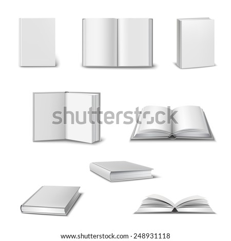 Realistic set of 3d open and closed books with blank white cover isolated vector illustration - stock vector