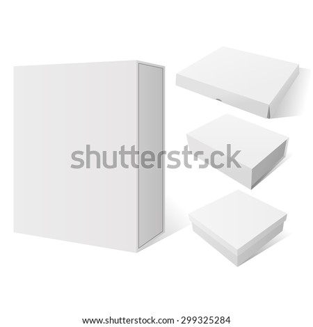 Realistic Set of four vector white Package Mockup Box, ready for your Product Design - stock vector