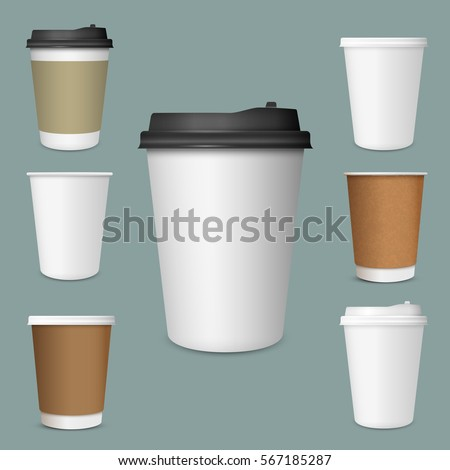 Realistic set of  paper Coffee Cups. Collection 3d Coffee Cup Mockup. Vector Template