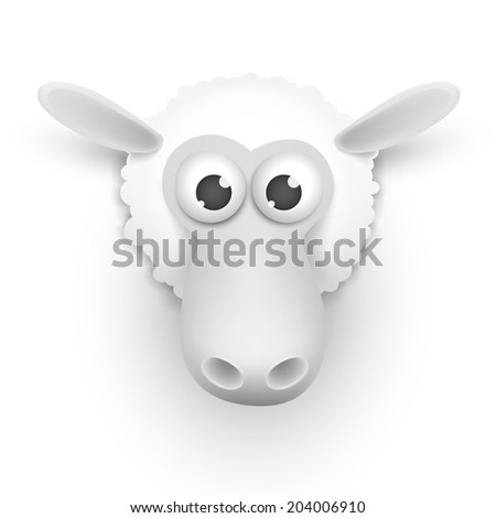Realistic sheep head on a white background vector illustration - stock vector