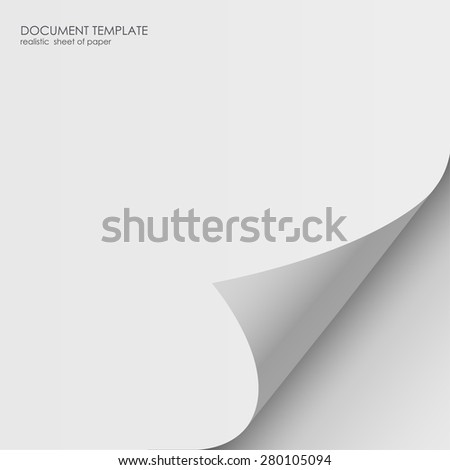 Realistic sheet of paper. Document template, layout sticker - stock vector