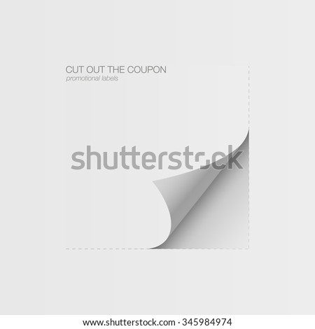 Realistic sheet of paper. Document template, layout sticker. tear-off coupon - stock vector