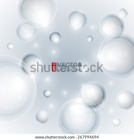 Realistic shiny transparent water drop bubbles on light grey background. RGB EPS 10 vector illustration - stock vector
