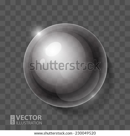 Realistic shiny transparent water drop sphere. RGB EPS 10 vector illustration. Can be placed on any background color - stock vector