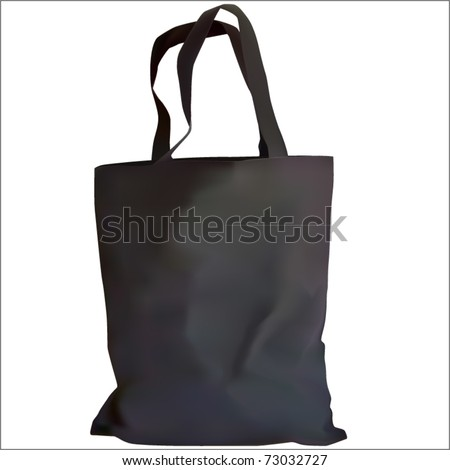 realistic shopping bag in black color vector - stock vector