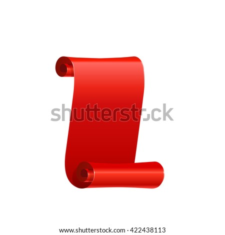 Realistic silk red vector ribbon, flag, banner. Red ribbon without shadows on white background.
