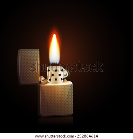 Realistic silver gasoline lighter with burning flame on dark background vector illustration - stock vector