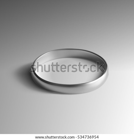 Realistic Silver Wedding Ring Isolated on Background. EPS10 Vector