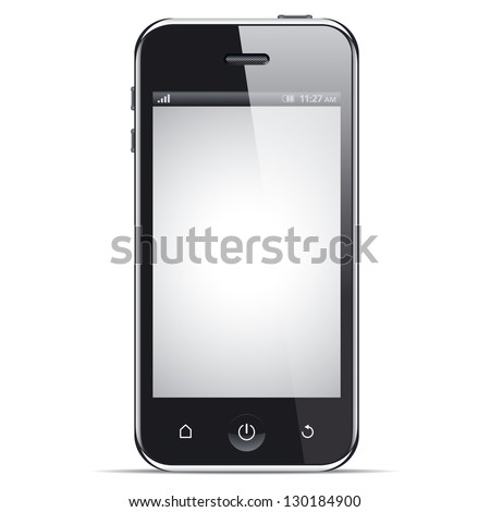 Realistic smart phone, vector illustration. This file is EPS10 vector and it includes transparency effects. - stock vector