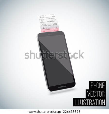Realistic smart phone vector with chek  - stock vector