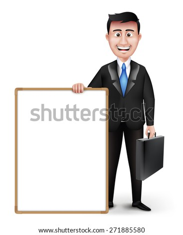 Realistic Smart Professor or Business Man Character Holding Briefcase Presenting in Empty White Board in Black Suit Long Sleeve and Necktie Isolated in White Background. Editable Vector Illustration - stock vector