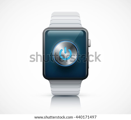 Realistic smart watch with music volume knob eps10 vector illustration