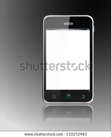 Realistic Smartphone -  cellphone, vector layered and with a separate layer to easily add your own screen image