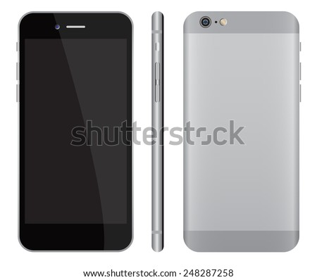 realistic smartphone mockup front, side and back vector images isolate on white background - stock vector