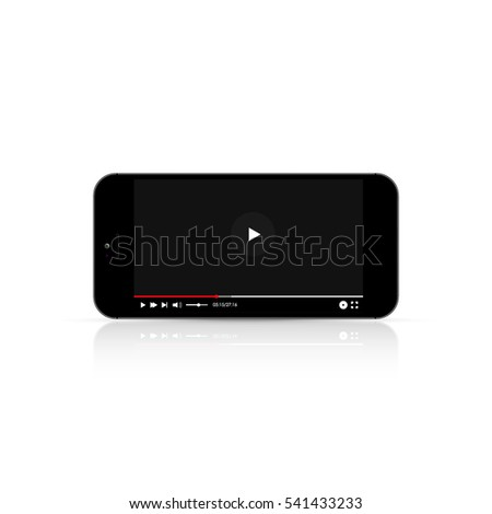 Realistic smartphone whith video player on white background
