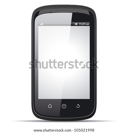Realistic smartphone with blank screen on a white background. ep - stock vector