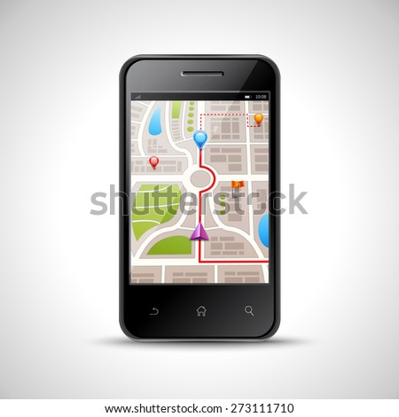 Realistic smartphone with gps navigation map on screen isolated on white background vector illustration - stock vector