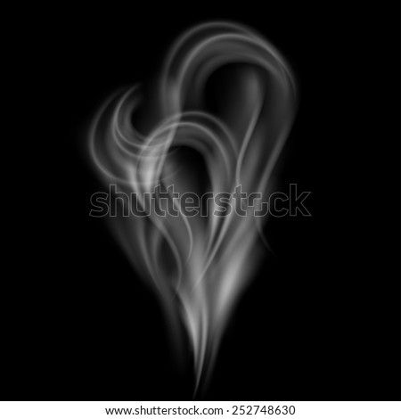 Realistic smoke isolated on a black background. Vector illustration.  - stock vector