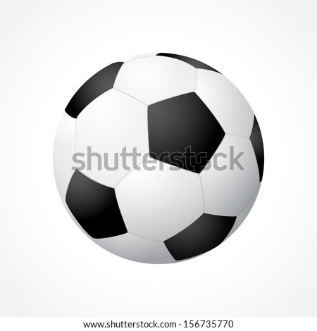Realistic soccer ball isolated on white background - stock vector