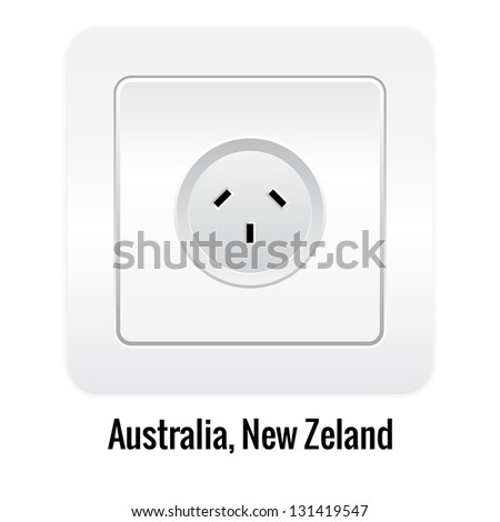 Realistic socket illustration isolated on white. Australia, New Zeland type.