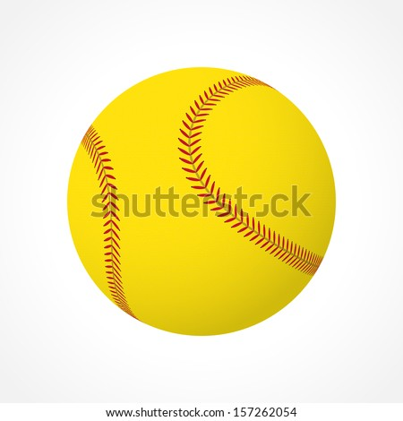 Realistic softball ball isolated on white background - stock vector