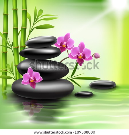 Realistic spa beauty health care background with bamboo stones orchid vector illustration - stock vector