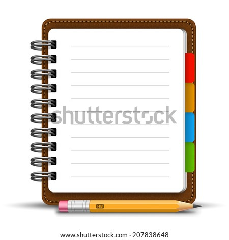 Realistic spiral leather notebook with bookmarks and detailed pencil stay on white background. Vector illustration - stock vector